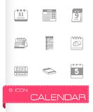 Vector black calendar icons set Stock Images