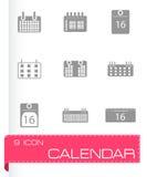 Vector black calendar icons set Stock Photography