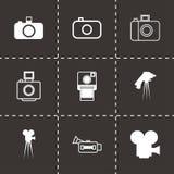 Vector black camera icon set. On black background Royalty Free Stock Photo
