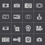 Vector black camera icons set Stock Photo