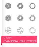 Vector black camera shutter icon set Royalty Free Stock Image
