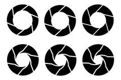 Vector black camera shutter icons set Stock Photo
