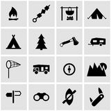 Vector black camping icon set. On grey background vector illustration