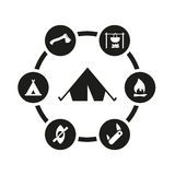 Vector black camping icon set Stock Photography