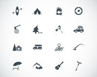 Vector black camping icons Royalty Free Stock Photo