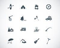 Vector black camping icons Royalty Free Stock Photo