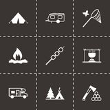 Vector black camping icons set. On black background Royalty Free Stock Photography