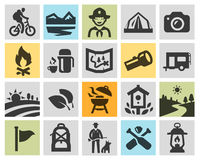 Vector black camping icons set Stock Photography