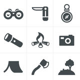Vector black camping theme set Stock Images