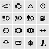 Vector black car dashboard icon set Stock Image