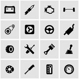 Vector black car parts icon set Stock Image