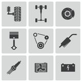 Vector black car parts icons set Royalty Free Stock Image