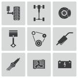 Vector black car parts icons set Royalty Free Stock Image