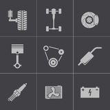 Vector black car parts icons set Stock Images