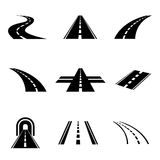 Vector black car road icons set Royalty Free Stock Images