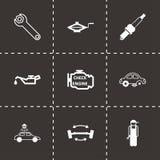 Vector black car service icons set. On black background Stock Photo