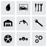 Vector black car service icons set Royalty Free Stock Images