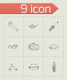 Vector black car service icons set Stock Images