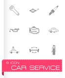 Vector black car service icons set Stock Photos