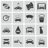 Vector black  car wash  icons Stock Photos