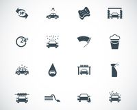 Vector black car wash icons. Set vector illustration