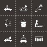 Vector black car wash  icons set. On black background Royalty Free Stock Photos