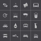 Vector black  car wash  icons set Stock Images