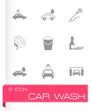 Vector black car wash  icons set Royalty Free Stock Images