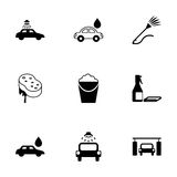 Vector black car wash  icons set Stock Photography