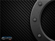 Vector black carbon fiber background with dark grunge metal ring and rivet. Scratched riveted surface heavy industrial design. Vector black carbon fiber Royalty Free Stock Photo
