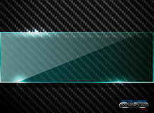 Vector black carbon fiber background with horizontal line green transparent glass plate banner. Industrial elegant design Stock Photography
