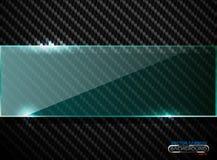 Vector black carbon fiber background with horizontal line green transparent glass plate banner. Industrial elegant design. Vector black carbon fiber background Stock Photography