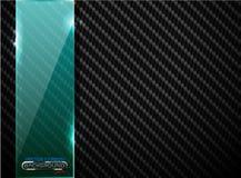 Vector black carbon fiber background with vertical green transparent glass plate banner. Industrial elegant design illustration. Vector black carbon fiber royalty free illustration