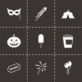 Vector black carnival icon set. On black background Stock Image