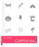 Vector black carnival icon set Royalty Free Stock Images