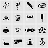 Vector black carnival icon set Royalty Free Stock Photography