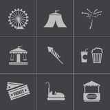 Vector black carnival icons set Royalty Free Stock Photography