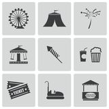 Vector black carnival icons set Stock Photo