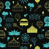 Vector black carnival seamless pattern background stock illustration