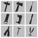 Vector black carpentry icon set Royalty Free Stock Photos