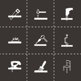 Vector black carpentry icons set. On black background Royalty Free Stock Images