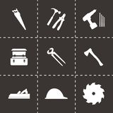 Vector black carpentry icons set Royalty Free Stock Image
