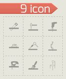 Vector black carpentry icons set Royalty Free Stock Photography