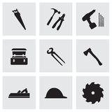 Vector black carpentry icons set Stock Images