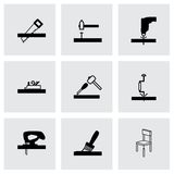 Vector black carpentry icons set Stock Photos