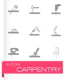 Vector black carpentry icons set Stock Photography