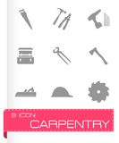 Vector black carpentry icons set Stock Photo
