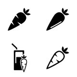 Vector black carrot, carrot meals icons set Royalty Free Stock Photos