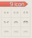 Vector black cartoon eyes icons set Stock Photos