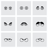 Vector black cartoon eyes icons set Royalty Free Stock Image